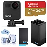 GoPro MAX Waterproof 360 Camera with Touch Screen, 5.6K30 UHD Video 16.6MP Photos Bundle with Dual Charger, Extra Battery, 32GB microSD Card, Cleaning Kit