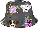 Gorro unisex con tela que absorbe la humedad, protección solar UV – Boxer perros y flores