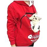 WOZOW Sweat à Capuche Femmes Animal Poche Tops Porter Chat Respirant Pull Blouse Dames avec Chats Chien(Rouge,L)