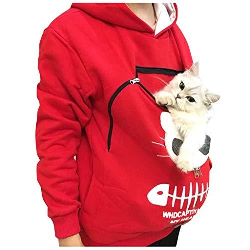 Reooly La Sudadera con Capucha Mujer con Capucha Animal Puede Llevar el Jersey Transpirable de Gato(Rojo,Small)