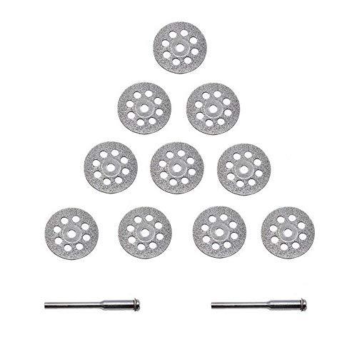 Xinlie Diamant mini slijpschijf set geperforeerde doorslijpschijven voor Dremel 22 mm diamant snijschijven met 2 stuks opspandoorn diamant doorslijpschijven set snijschijven geperforeerd 22 mm (12 stuks)