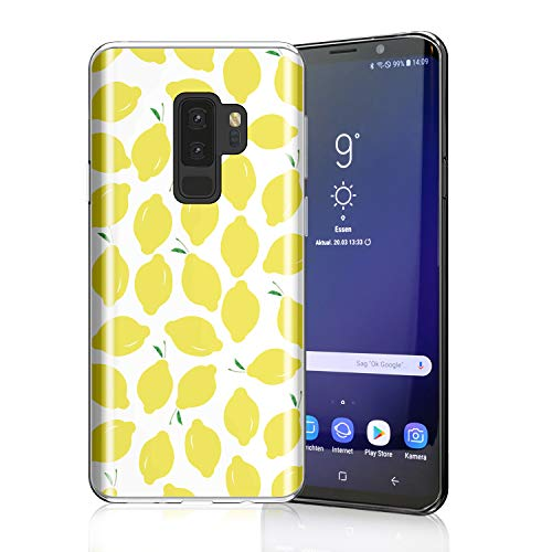 ZQ-Link Lovely Lemony Case for Galaxy S9 Plus, Raised Edges Scratch Resistant Lightweight Flexible Soft TPU Rubber Silicone Cell Phone Cover for Samsung Galaxy S9+ Summer Lemons on White