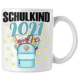 Trendation - Einschulung Mädchen Geschenk Schultüte Füllung Tasse Schulstart 1. Schultag Schuleinführung Schulanfang Geschenkidee Schulkind 2021 (Weiß)