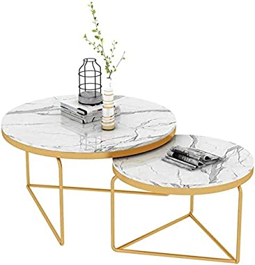 GRXXX Nesting Coffee End Tables, Modern Furniture Decor Side Table for Living Room Balcony Home and Office (White, Set of 2)