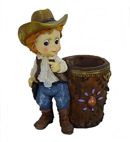 Decoratieve figuur pennenhouder stiftebox vaas cowgirl westerndecoratie Colt Winchester Art Deco C