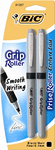 Rollerball Pen, Fine Point, 0.7mm, 2/PK, Black Ink, Sold as 1 Package