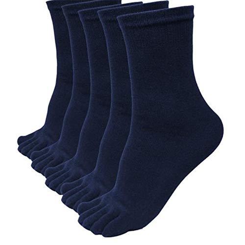 XTBL 5 Paare Herren Zehensocken Baumwolle Männer Fünf Finger Socken Sport Laufende Socken mit Zehen herren zehensocken größe 38-46 für Sport, Laufende und Arbeitauen (Marine)
