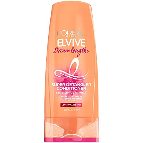 L'Oreal Paris Elvive Dream Lengths Super Detangling Conditioner with Fine Castor Oil and Vitamins B3 and B5 for Long, Damaged Hair, Instantly Detangles to Reduce Breakage With System, 12.6 Fl Oz