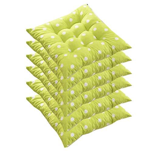 AGDLLYD Basic Lot de 6 Coussins d'assise de Chaise de Jardin/Coussin de Siège de Jardin en Polyester pour Intérieur et Extérieur, 40x40x8 cm– Rembourrage épais (Vert)