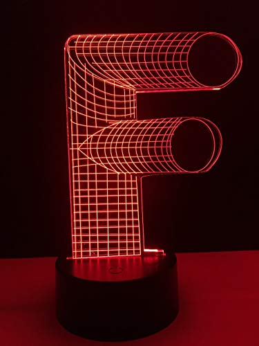 LIkaxyd 3D Luz Nocturna Infantil La Letra F Led Usb Luces Nocturnas Ilusión Lámpara De Mesa Táctil Luces Para La Decoración Del Partido Presentes De Cumpleaños