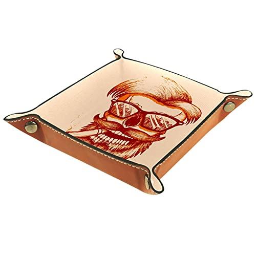 Vecchio fumare, Valigia Vassoio Cuoio DELL'UNITÀ di elaborazione Vassoio Valigia Gioielli Vassoio Chiave Scrivania Piastra di Stoccaggio per Dadi Moneta Telefono