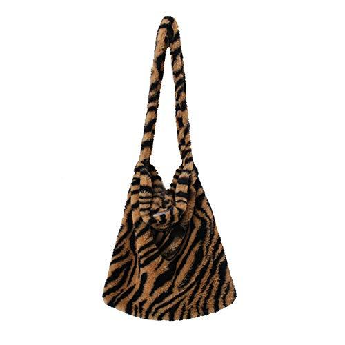 MZSM Vintage Plüschtasche Frauen, Plüsch Flauschige Tasche, Große Kapazität Frauen Tiermuster Schultertasche Große Kapazität Flauschig für Frauen und Mädchen (L Zebra Brown)