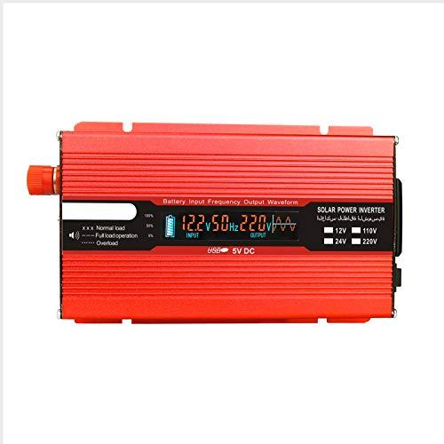 Rantoloys Convertidor de Voltaje 500W 1000W 12V 240V Inversor Inversor de Corriente USB con 1 Enchufe y Pantalla LCD