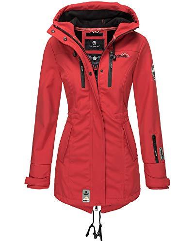 Marikoo Damen Softshell Jacke Winter Jacke Regenjacke Parka Kapuze ZMTZ (L, Rot)
