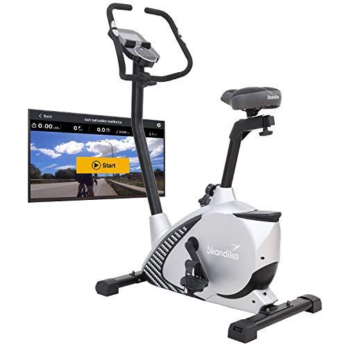 Skandika Glede - Ergómetro/Bicicleta estática - Bluetooth - sistema magnético- 11 kg masa de inercia (gris)