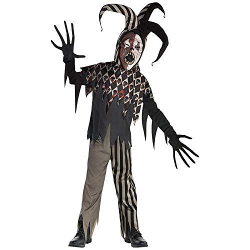 amscan-Wicked Jester Costume-Age 12-14 Years-1 Pc Disfraz de bufón malvado para niños de 12 a 14 años, 1 unidad, color negro, (9904752)