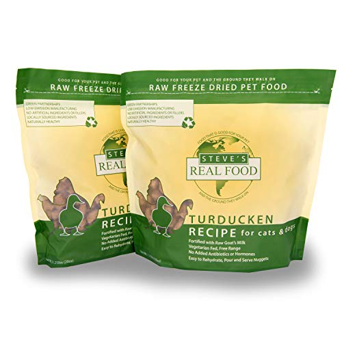 Steve s Real Food Freeze-Dried Raw Food Diet for Dogs and Cats, 2-Pack, Turducken Recipe (Turkey & Duck), 1.25 lbs in Each Bag, Made in The USA, Pour and Serve Nuggets, Vegetarian Fed & Free Range