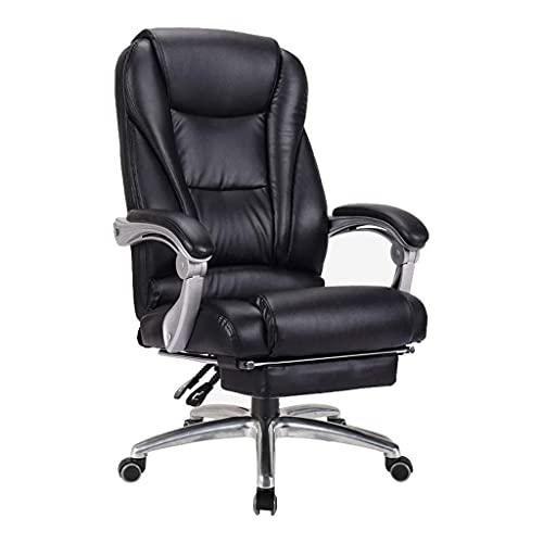 BKWJ Silla de Oficina de Oficina, sillón, ergonomía, Esponja de Rebote de Alta Densidad, reposacabezas Espesado de Doble Capa, reposapiés telescópico, Cuero (Color : Black)