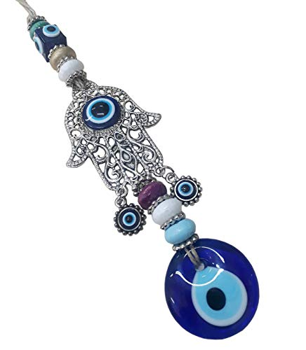 Perlin Nazar Boncuk Boncugu Fátima Mano Hamsa Turco Azul Evil Eye pared colgante 34 cm Ornament amuleto decoración Home Decor protección bendición regalo