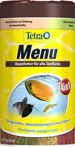 Tetra Min Menu Fischfutter - Hauptfuttermix mit 4 Spezialflocken in getrennten Kammern, abwechslungsreiches Futter für alle Zierfische, 250 ml Dose