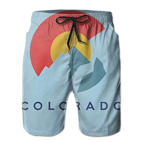 Jiger Colorado Mountain Flag Mens Swim Trunks Quick Dry Summer Surf Beach Board Shorts PantsL