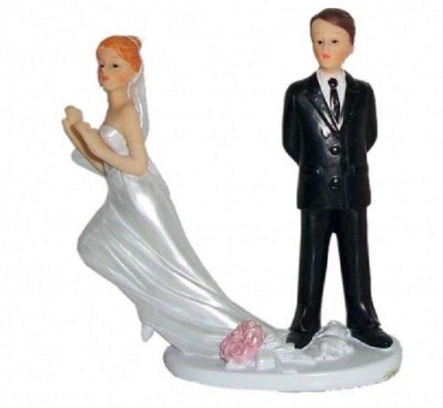 Brautpaar, Hochzeitspaar | Tortenaufsatz, Tortenfigur, Dekofigur, Cake Topper Wedding Hochzeit Trauung Hochzeitstorte | Moderne Skulptur für Das Brautpaar lustig Gefangen | 9 x 12 cm (Schleppe)