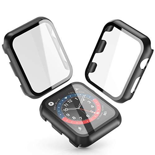 [2-Pack] Julk Black Hard Case for Apple Watch Series 3 / Series 2 Screen Protector 42mm, Hard PC Case Slim Tempered Glass Screen Protector Overall Protective Cover for iwatch Series 3/2
