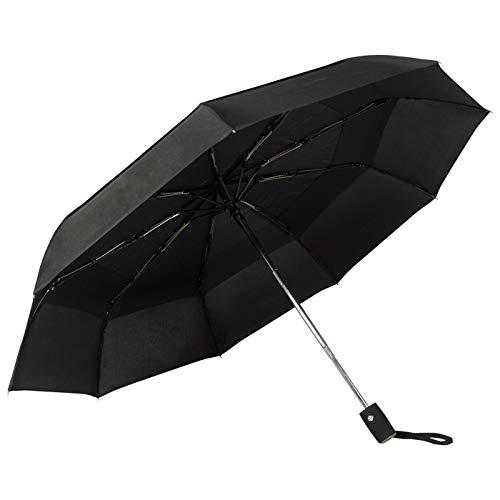 Golden Lemur Paraguas Plegable Automático Mujer y Hombre. Paraguas Originales de Colores Antiviento Ligero Resistente y Compacto. Tela Reforzada T210 Teflon Garantía Calidad Color Negro