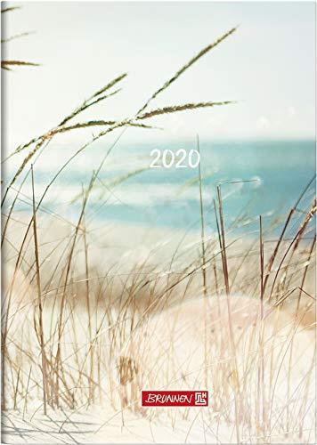 BRUNNEN 107961503 Buchkalender Modell 796 (2 Seiten = 1 Woche, 148 x 205 mm, Grafik-Einband Strand, Kalendarium 2020)