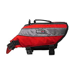Dogline Dog Life Jacket – Dog Life Vest for Swimming and Boating in Hi-Viz Colors with Reflective Strips Mesh Underbelly for Draining and Drying and Top Carry Handle 22 to 28″ Girth Red