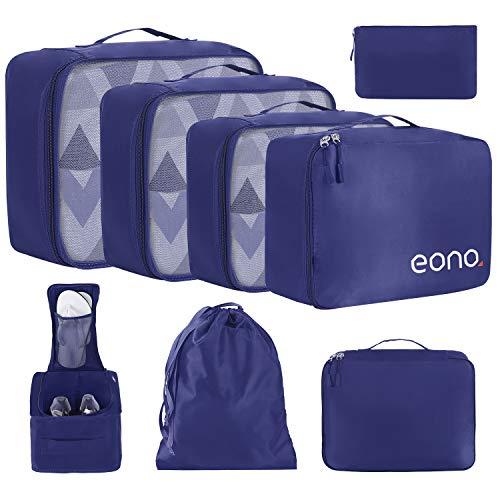Amazon Brand - Eono Organizer Valigia Set di 8, Cubi da Viaggio, Cubi di Imballaggio Organizer Valigia Essential Organizer Borse da Viaggio Impermeabili Sacchetto da Viaggio Packing Cubes - Navy