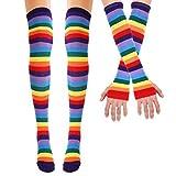 TiaoBug Mujeres Niñas Calcetines de Algodón Rodilla de Arco Iris Yayas por...