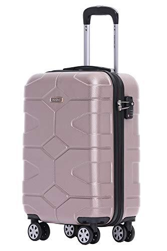 BEIBYE - TSA Schloß 2035 Hartschale Reisekoffer Koffer Handgepäck Trolley (Rosagold, M)