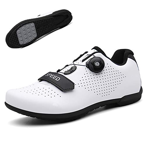 JINHU Antideslizante, Zapatos De Ciclo Profesional De MTB Zapatos, Grapa del Pedal Zapatos De La Bici Al Aire Libre Respirable Camino De La Bicicleta Las Zapatillas De Deporte(46, White)