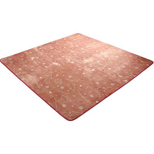 ラグ 洗える カーペット 抗菌 防臭 スノーラビット ピンク 約200×250cm 3畳 ホットカーペット カバー フランネル 長方形 床暖房対応 うさぎ ウサギ 兎#9845027