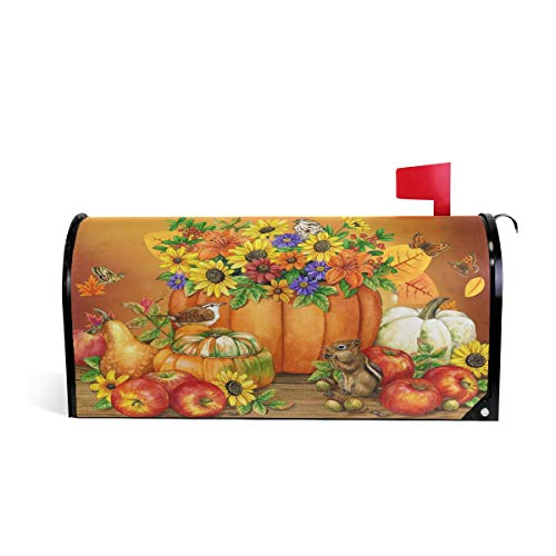 Wamika Autumn Pumpkin Sunflower Magnetic Mailbox Cover MailWraps,Fall Leaf Squirrel Harvest Mailbox Wraps Post Box Garden Yard Home Decor for Outside Standard Size 20.8(L) x 18(W)