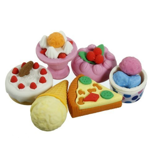 1 Pack of Cute 3D Pizza Ice Cream Eraser Rubber Pencil Set Stationery Kids Gift (Style 4)