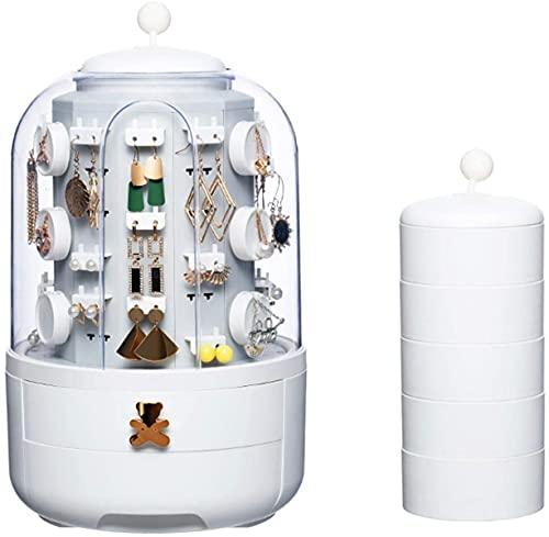MOCHENG Caja de almacenamiento para joyas, organizador de joyas con gran capacidad, soporte para exhibición de joyas para mujer con 39 ganchos pequeños
