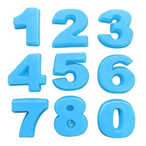 Molde de silicona con forma de números para tartas de cumpleaños y aniversario, incluye el número 0, 1, 2, 3, 4, 5, 6, 7, 8, 9, molde para pizza, hornear, pasteles, pan, cocina