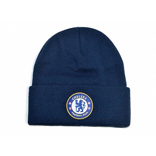 Chelsea FC Fußball Strick Beanie Mütze mit Wappen (Einheitsgröße) (Marineblau)