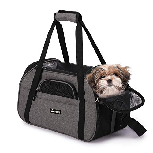 """Jespet Soft Pet Carrier for Small Dogs, Cats, Puppy, 17"""" Airline Approved Portable Carrier Bag for Airline, Train, Car Travel, Smoke Gray"""