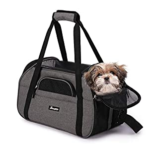 Jespet Soft Pet Carrier for Small Dogs, Cats, Puppy, 17″ Airline Approved Portable Carrier Bag for Airline, Train, Car Travel, Smoke Gray