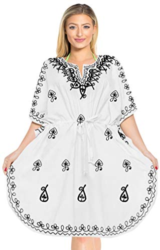 LA LEELA Damen Rayon überdimensional Midi Bestickt Kimono Kaftan Tunika Kaftan Damen Top Freie Größe Loungewear Urlaub Nachtwäsche Strand jeden Tag Kleider Weiß_F394