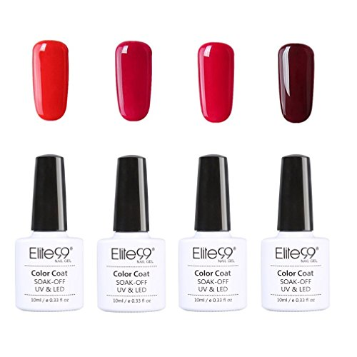 Elite99 UV LED nagellack gel shellac set nail polish set soak off gel Geschenk weinrot(4xStück...