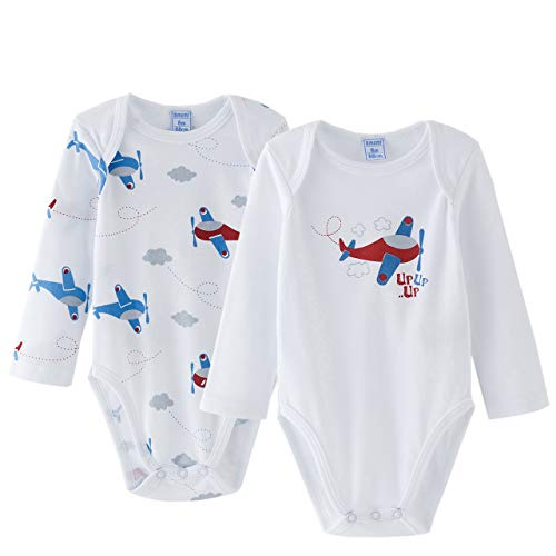 Amomí, Body para Bebé, Mangas Largas, Algodón 100% (3 Meses, Aviones)