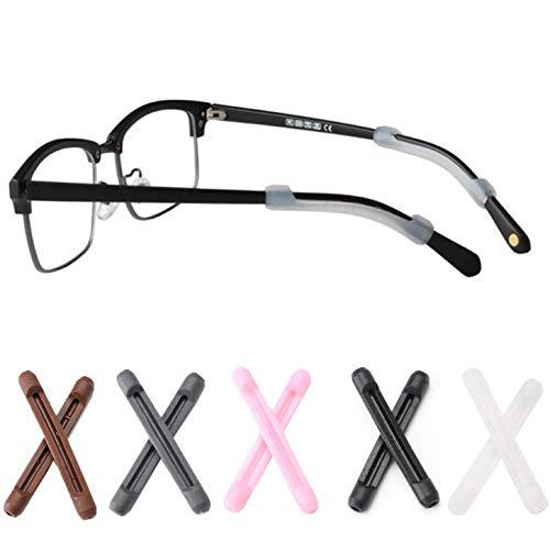 DNHCLL 5 Pairs Soft Silicone Eyeglass Ear Cushions Temple Tips Eyeglass Pads Anti Slip Glasses Ear Hook Comfort Sport Ear Grips,Eyeglasses Leg Antiskid Cover for Reading Glasses, Sunglasses
