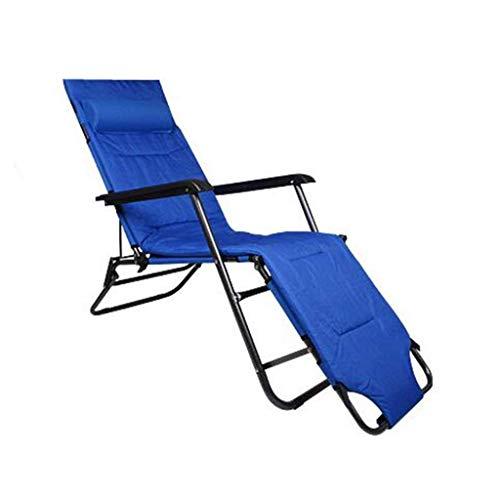 Busirsiz nórdico Silla Plegable Silla de Playa con reposapiés for Adultos Recorrido al Aire Libre Pesca Asiento portátil de Metal Chaise, Azul, 103kg Hold