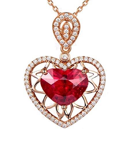 Aartoil Collar con colgante de corazón de oro rosa de 18 quilates con forma de corazón hueco de turmalina para mujer, color rojo