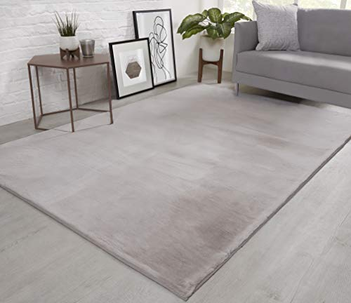 NATURAL FAUX RABBIT FUR Rug Ultra Soft Plush Extra Large Animal Rugs Living Room Wool Shaggy Fluffy 26mm Thick Pile Height Modern Area Rugs - (Silver Light Grey, 160cm x 230cm (5.5ft x 7.5ft))