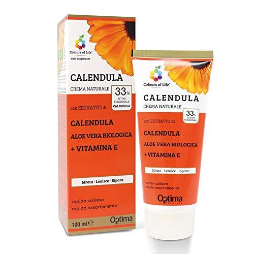 Colours of Life - Crema Naturale alla Calendula - con Aloe Vera Biologica e Vitamina E - Ideale per Eritemi e Scottature - Formato da 100 ml